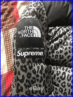 Supreme x The North Face TNF Grey Leopard Nuptse 700 Jacket Box Logo Waxed
