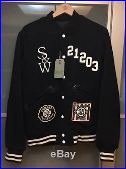 Supreme x Wtaps Reversible Varsity Jacket Navy Faux Fur Sade Box Logo S sz L