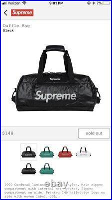 Suprme Black Box Logo Duffle Bag FW17 3M Reflective