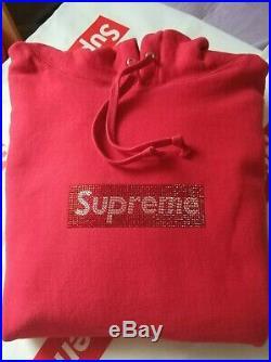 Swarovski x Supreme Box logo Hoodie Hooded Sweatshirt SS19 Red Size S