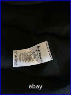 UA SUPREME X SWAROVSKI Crystal Box Logo Sweatshirt Hoodie Black Size XLarge
