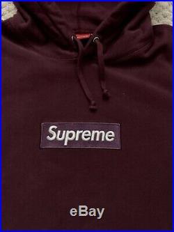 UA Supreme Box Logo Hoodie Burgundy 2011 Size Large
