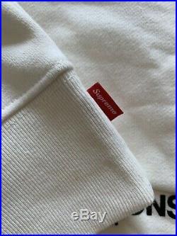 UA Supreme Comme Des Garcons Split Box Logo White Hoodie Size Medium