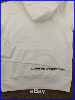 UA Supreme Comme Des Garcons Split Box Logo White Hoodie Size Small