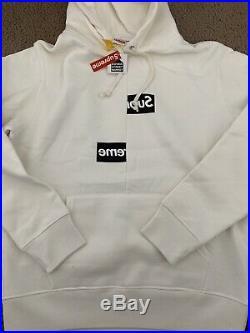 UA Supreme Comme Des Garcons Split Box Logo White Hoodie Size XLarge
