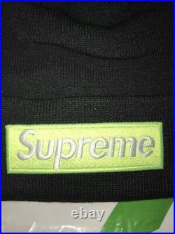 UA Supreme New Era Box Logo Beanie FW17- Black & Lime Green