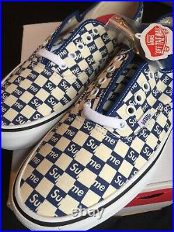 Vans Authentic Pro Supreme New Sz 9.5 Checkers Box Logo White Blue Checkered