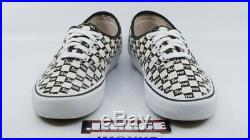 Vans Authentic Pro Supreme Used Sz 8.5 Checkers Box Logo White Black Vn000q0djlw
