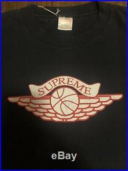 Vintage 1998 Supreme Wings Shirt Black Box Logo Nike Air Jordan Yeezy Rare
