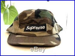 Vintage Supreme Box Logo Hat 2008 NEVER WORN FW08 BNWT five panel camo cap