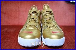 WORN 2X Nike Supreme Air More Uptempo 902290-700 Size 12 Gold Suptempo Box Logo