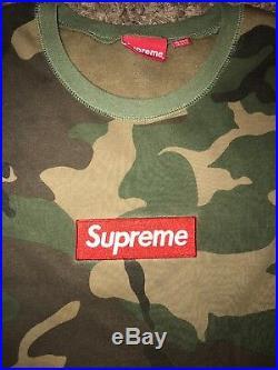 Woodland Camo Supreme Box Logo Crew Neck Sweatshirt Large Authentic F/W 15 Bogo