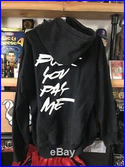 XL Supreme X Futura Black Hoodie Box Logo Rare Vtg Fck You Pay Me 2011